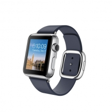 Apple Watch 38mm Stainless Steel Case with Midnight Blue Modern Buckle Size M (MJ352)