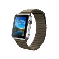 Apple Watch 42mm Stainless Steel Case with Light Brown Leather Loop Size M (MJ402)