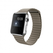 Apple Watch 42mm Stainless Steel Case with Stone Leather Loop Size M (MJ442)