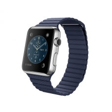 Apple Watch 42mm Stainless Steel Case with Bright Blue Leather Loop Size L (MJ462)