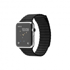 Apple Watch 42mm Stainless Steel Case with Black Leather Loop Size M (MJYP2)