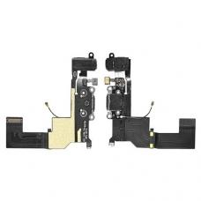 Шлейф с разъемом зарядки и наушников (Charger flex cable with headphone jack) для iPhone 5S black orig