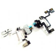 Шлейф с разъемом наушников, кн.громкости (Headphone jack audio flex cable) для iPhone 4G white orig