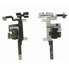 Шлейф c разъемом наушников, кн.громкости (Headphone jack audio flex cable) для iPhone 4S white orig
